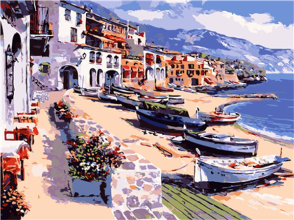 16x20 inches Holiday to Calella Beach Scenery DIY Paint By Numbers Kits On Canvas Art Acrylic Oil Painting