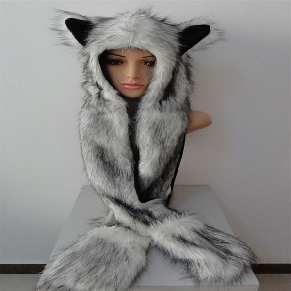Kunstpelz Kapuze Tier Womens Mens Hut Ohrenklappen Hand Taschen 3 in 1 Hut Wolf Plüsch Winter warme Mütze mit langen Schal Handschuhe Handschuhe