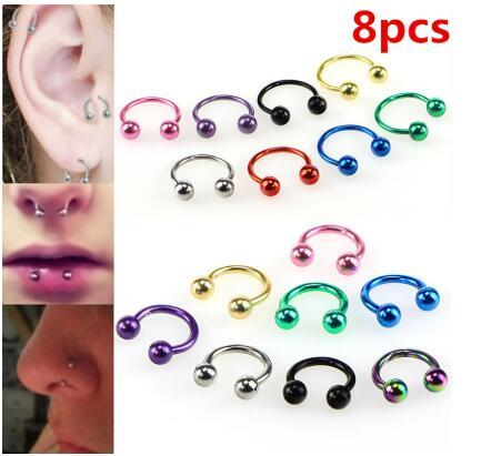Colorful Steel Horseshoe Nose Septum Rings Lip Nipple Ear Rings Body Piercing Nariz Jewelry Piercng Available 6 8 10 mm