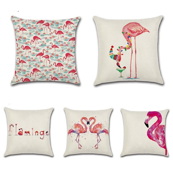Flamingo Printed Pillowcase Cotton Linen Cute Flamingo Throw Pillow Case Decorative Pillowcases Cover Funda De Almohada