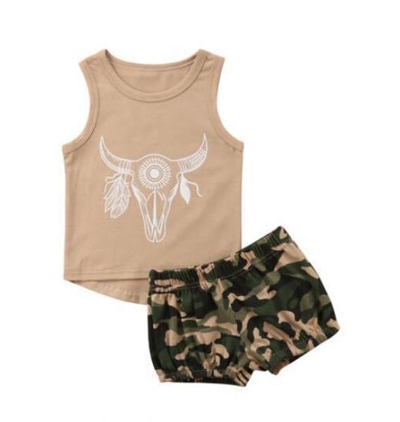 Vêtements de bébé Ensembles Tête de Bull Imprimé Garçons Chemise Camouflage Shorts 2 Pcs Ensemble Sans Manches Filles Tenues Été Vêtements Pour Enfants YW2800