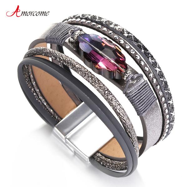Amorcome púrpura Rhinestone pulseras de cuero para las mujeres pulseras brazaletes joyería de moda Mulitlayer Wrap pulsera ancha Femme