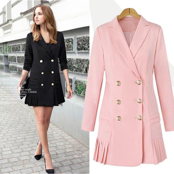 Herbst Winter Streetwear Zweireiher lange Anzug Frauen Blazer Slim Bottom Plissee Frauen Mantel Jacke Casual Outwear plus Größe