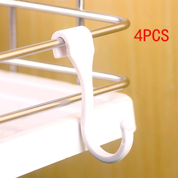 4PSC / Set Organizzatore di gancio singolo gancio gancio di bagno staccabile in plastica staccabile