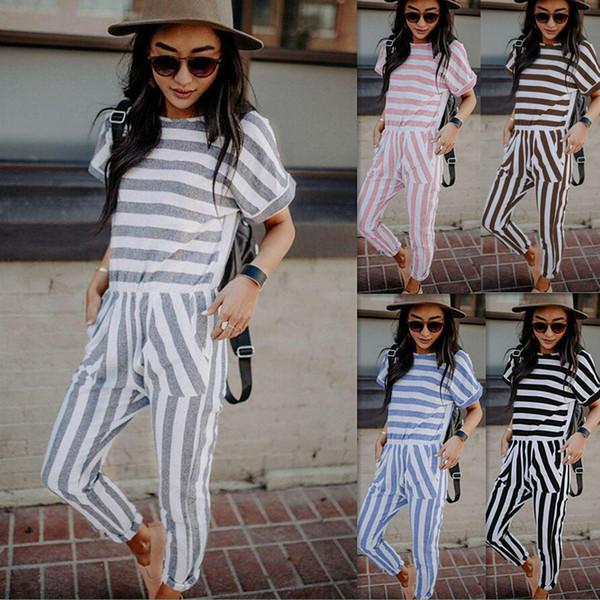 Nuove donne tuta signora cinturino della banda pagliaccetto delle donne tuta tuta aderente partito streetwear vestito a strisce pagliaccetti per le donne J190501