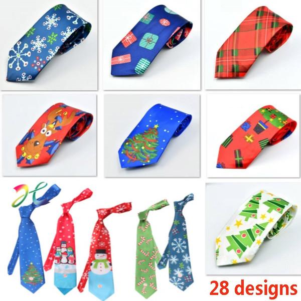 Christmas Neck Tie For Santa Claus Snowman Reindeer Christmas Tree Men Women Print Party Dress Up Tie Xmas Decoration FA2401
