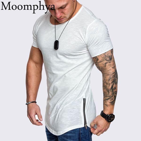 Moomphya Düz Renk Sıska Yan Fermuar Erkekler T Gömlek Longline Slim Fit T-shirt Erkekler Hip Hop Tshirt Streetwear Yaz Y190516 Tops