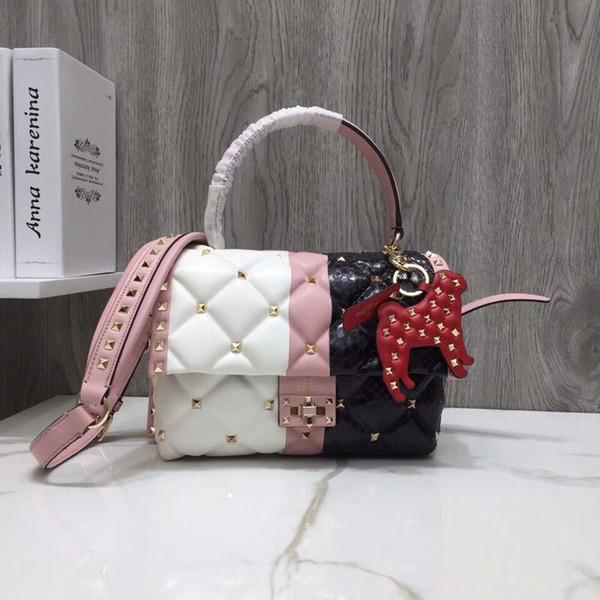 2018 горячая распродажа мода классический женский дизайнер алмаз решетки заклепки сумки плечо сумки дизайнер леди ремень ремешок сумка ручной