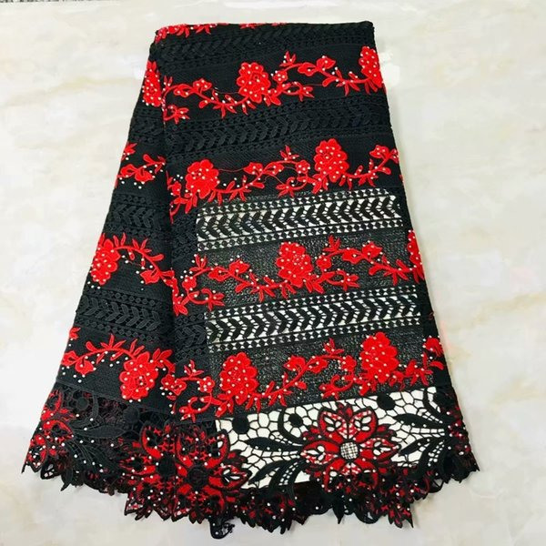 (5yards/pc) Black And Red African Guipure Lace Fabric Newest Water Soluble Lace With Stones For Dress Tw78
