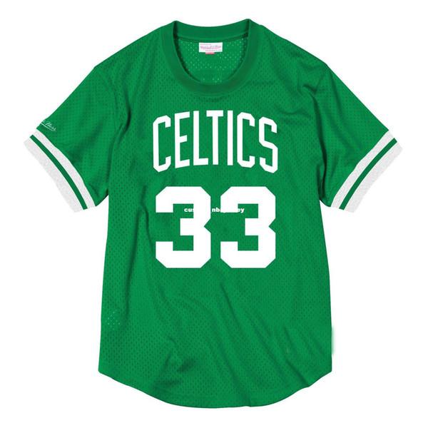 Barato personalizado Larry Bird Mitchell Ness camisa de malla para hombre para hombre cosida camiseta de verano Retro camiseta de baloncesto