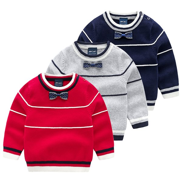 2018 Autumn Korean Version Of High-Quality Children's Clothing Boys And Girls Jacquard Striped Handsome Kid Pullover Bow Tie Sweater