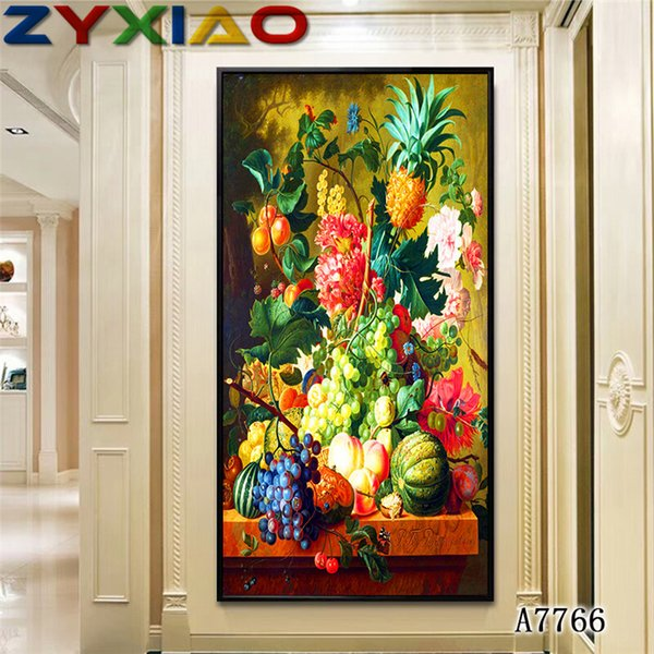 ZYXIAO Big Size Oil Painting fruit grape pineapple flower pink rose Home Decor on Canvas Modern Wall Art No Frame Print Poster picture A7766