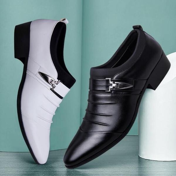 Erkek Oxford Ayakkabı Deri Ayakkabı Katı Tokalı Düğün Ayakkabı Büyük Beden 6-12 (Siyah, Kahverengi, Beyaz)