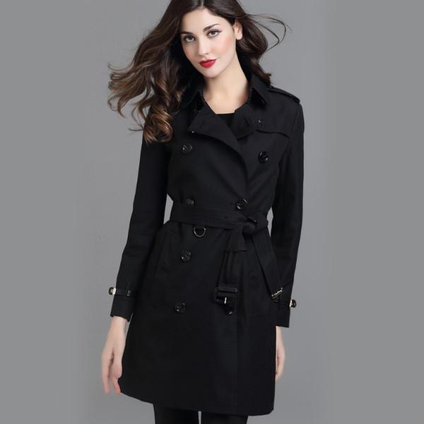 Heiße Rabatte! klassische britische mittlere lange Trenchcoatfrauen der Frauen / hochwertiger Markendesigner england Graben für Frauen S-XXL 4 Farben 4pcs