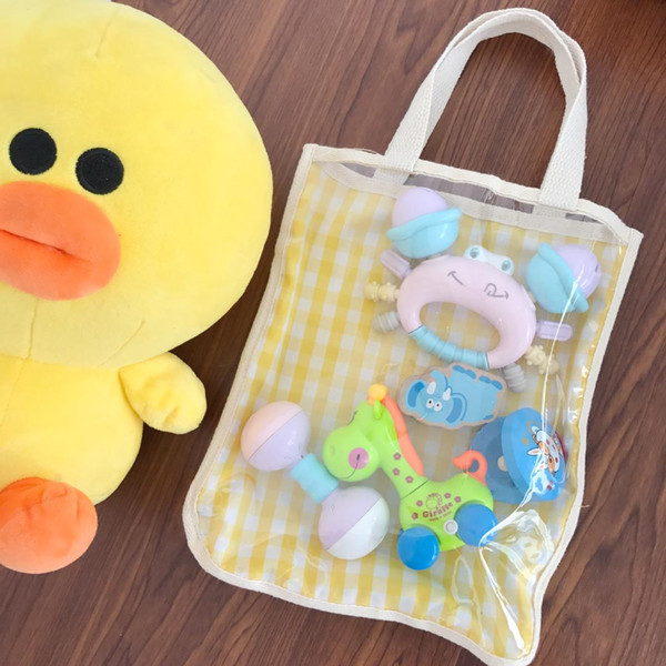 Korean Fashion Transparent Handbag Plaids Design Cotton Fabric Shoulder Bag for Small Toy Grocery Storage Women Tote