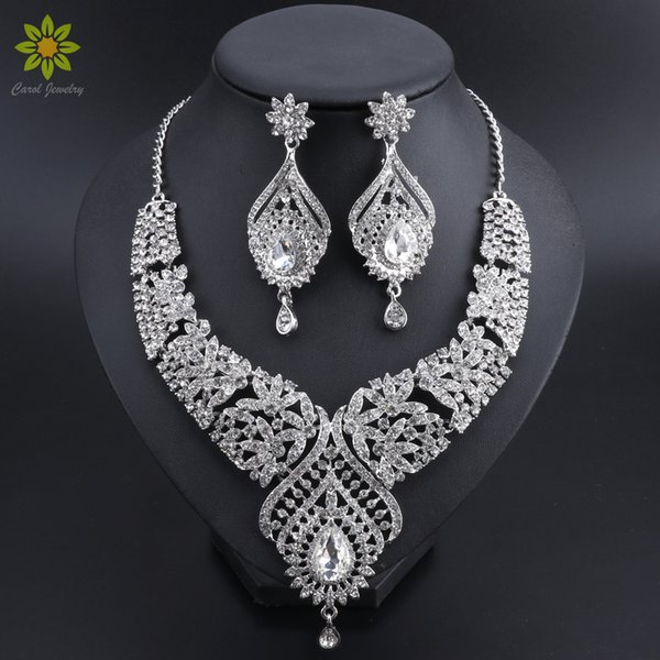 2018 Fashion Indian Bridal Jewelry Sets Statement Necklaces Earrings Sets for Bridesmaid Wedding Party Dress Costume Accessories