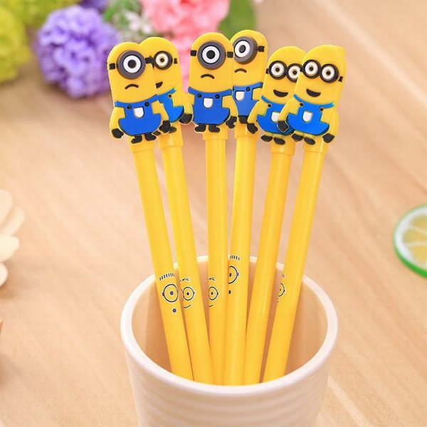Gel Pen Cute Minions Creative Minions Gel Pens Yellow Double Single Eyes Cartoon Gel Pen Silicone Minions Black Ink Pen