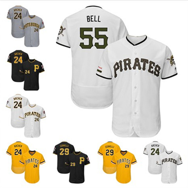 official photos 7ad52 c0b4d 2019 Men Pirates Custom Jersey Josh Bell Francisco Cervelli Pittsburgh  Chris Archer Starling Marte Roberto Clemente Pittsburgh Baseball Jerseys  From ...