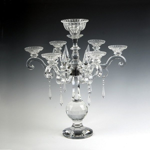 Luxury 7 arms Crystal Wedding Candle holder Stand Glass Candlestick Candelabra for Table Decoration