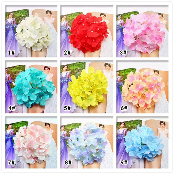36 colori Big Hydrangea Flower Head Artificial Flower Sfondo di nozze Flower Wall Decoration Disposizione di fiori finti