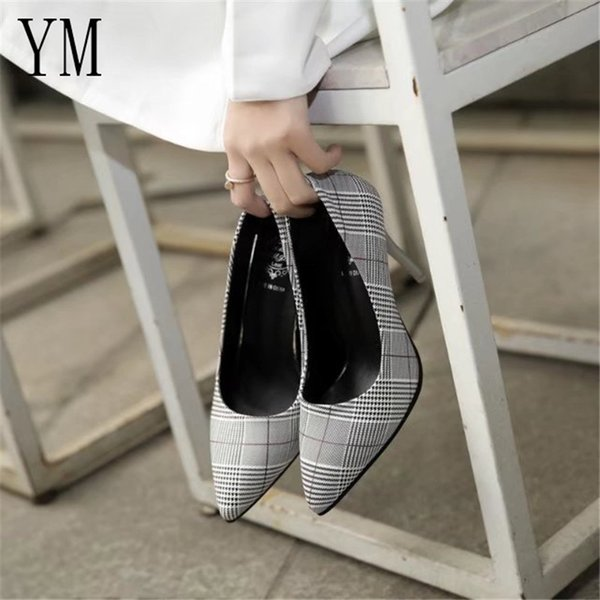 2019 Dress Fashion 2018 New High Heels Grid Shoes Women Pumps Office Lady Pointed Toe Sexy Wedding Sapato Feminino Spring Wear non-slip