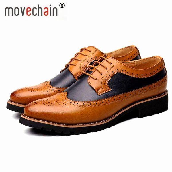 Movechain Moda Erkek Elbise Ofis Dantel-Up Deri Ayakkabı erkek Rahat Parti Sürüş Oxfords Man Vintage Oyma Brogue Flats