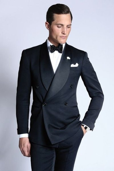 Latest Coat Pant Designs Navy Blue Double Breasted Wedding Suits for Men Jacket Slim Fit Skinny 2 Piece Tuxedo Groom Blazer