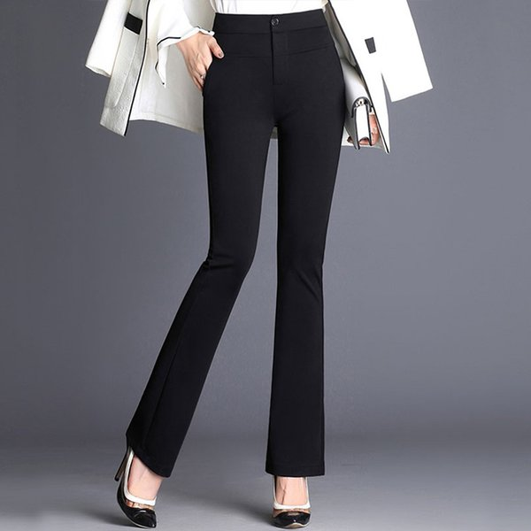 Women's Office Lady High Waist Flare Pants Solid Elastic Formal Long Stretch Trousers Ladies 2019 Autumn Loose Bottoms Plus Size MX190716