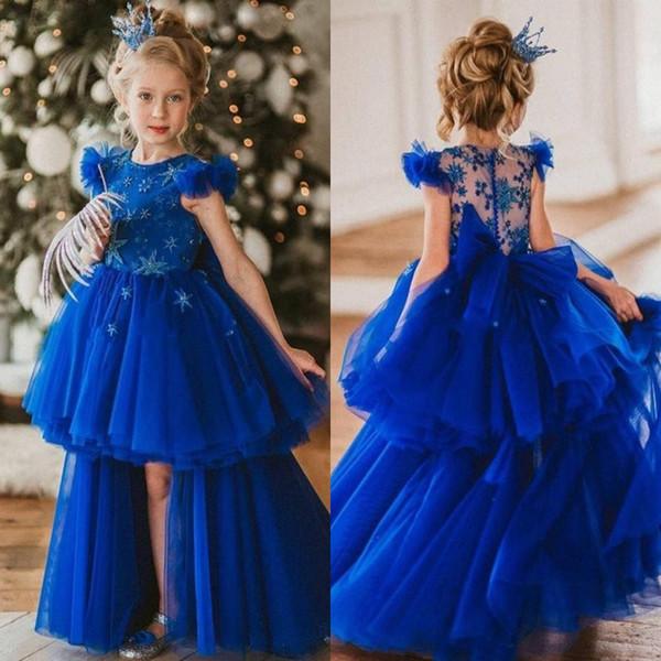 Bleu royal haute basse fleurs robes robes col rond étoile perles volants filles Pageant robe plafonné couche jupe enfants robes d'anniversaire