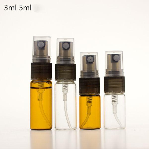Toptan 3 ml 5 ml Amber Temizle Cam Sprey Şişeleri 1000 Adet Kozmetik Su Konteyner Pompa Püskürtücü ile Ücretsiz DHL