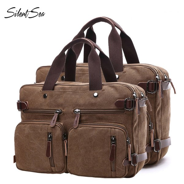 Silentsea Canvas Leather Men Briefcase New Travel Bags Hand Luggage Bags Men Multifunction Backpack Large Capacity Handbags