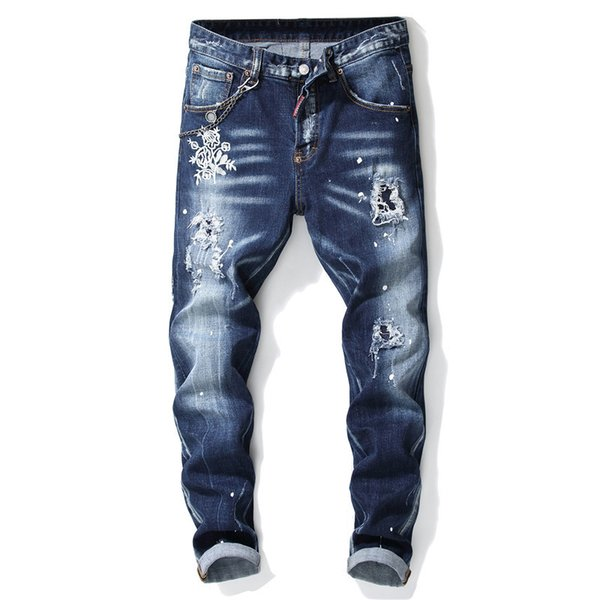 European American Style famous brand Men slim jeans pants brand men Pencil Pants Straight blue hole jeans for 1001