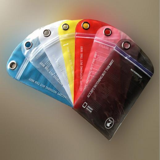 Universelle durchscheinende Farbe PVC Handy U Disk Datenleitung Schlüssel wasserdichte Tasche zum Schwimmen Wandern