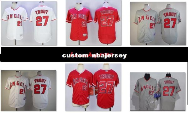 Cheap Custom #27 Mike Trout Cool Base jerseys White Red Gray Stitched Retro Mens jerseys Customize any name number baseball jersey XS-5XL