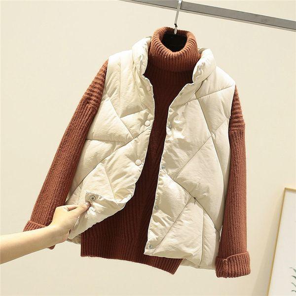 2019 Casual Jacket Streetwear Down Inverno New Mulheres Cotton Vest solto mangas gola Brasão de algodão Vest