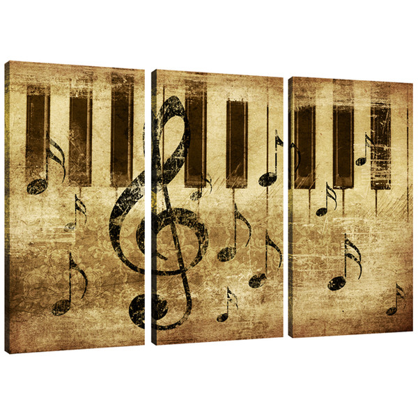 3 Panles Piano Score Canvas Paintings Wall Art Painting Music Pictures Prints On Canvas For Home Wall Decor with Wooden Framed Ready to Hang