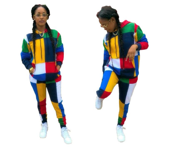 Color Block Spliced Sport Suits Casual Two Piece Set Women Front Pockets Full Sleeve Hoodies And Fit Slim Long Pants Autumn Tracksuits