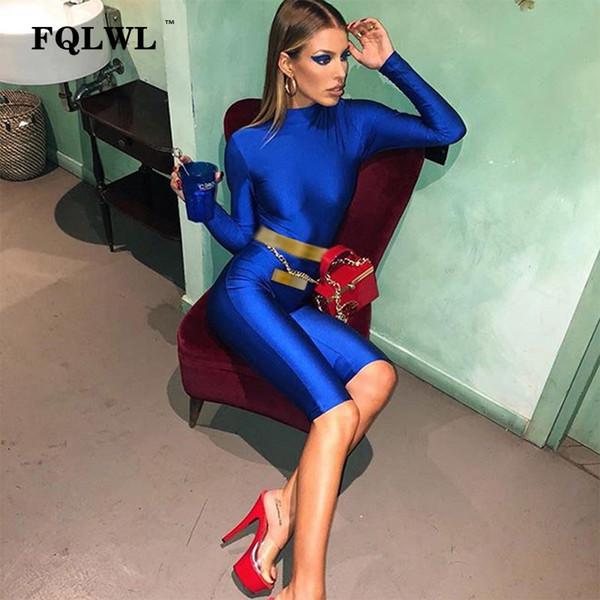 FQLWL Streetrwaer Sexy Skinny Playsuit Women Jumpsuit Short Female 2018 Casual Fitness Bodycon Long Sleeve Jumpsuit Romper Women