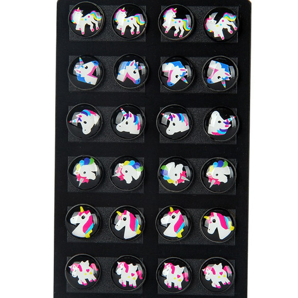 12 Pairs /set Cute Kids Baby Stud Earrings Sets Women Small Horse Lovely Animal Horse Studs Children Jewelry