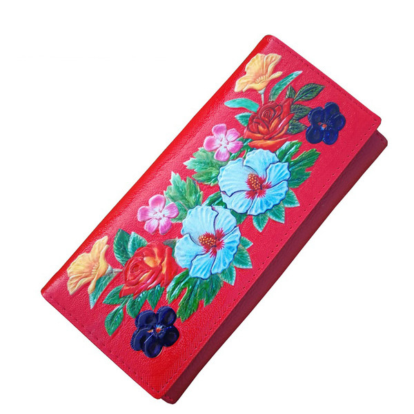 good quality Colorful Floral Embossed Genuine Leather Wallet Women Long Design Card Holder Purse Female Leather Clutches Lady