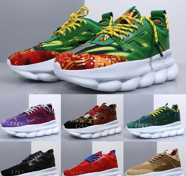 Hot Men & Women Chain Reaction Shoes Link-Embossed Sole womens Fashion Designer Casual Shoes Sport Sneakers With Dust Bag