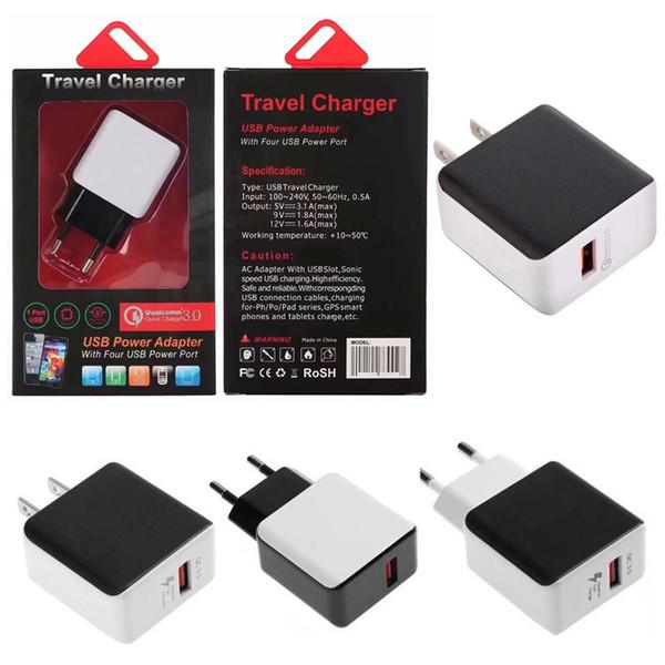 QC3.0 Caricabatteria rapido caricabatteria a ricarica rapida adattiva USB rapida per Samsung iphone ipad Tablet PC con confezione