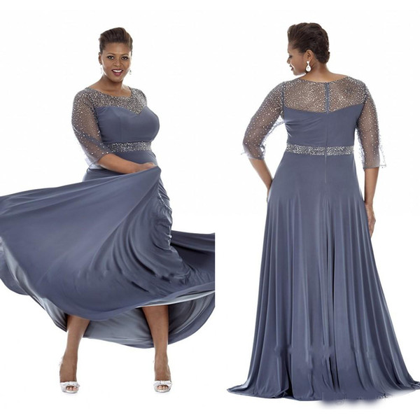 Gray Plus Size Special Occasion Dresses Sheer Sleeves Evening Gowns With  Beads Mother Of The Bride Dress Party Plus Long Dress Plus Size Women ...