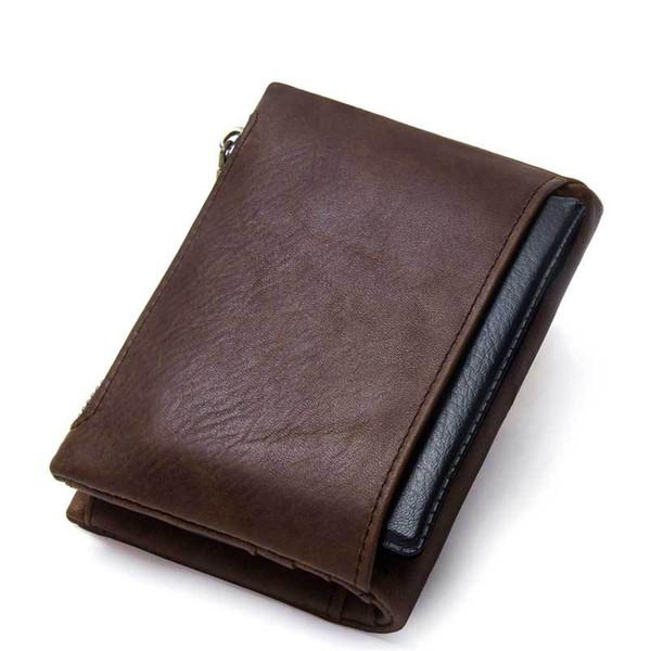 Brand Wallet Mens Genuine Leather ID Card Holder Billfold Zip Purse Wallet Man High Quality Clutch Bag Versatile Pack
