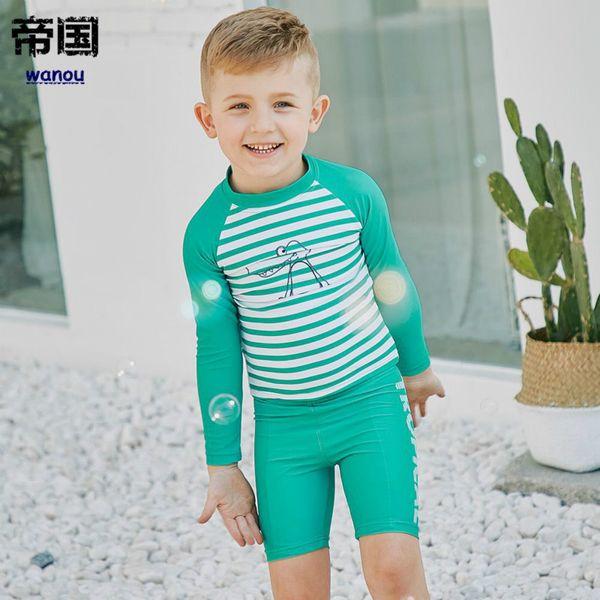 Moda NUEVOS niños de manga larga a rayas de secado rápido protección UV  traje de baño 119c08e73b9
