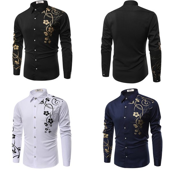 New Fashion Men Fashion Wild Slim Fit Solid Color Thin Male Lapel long Sleeve Shirt Plus Size M-