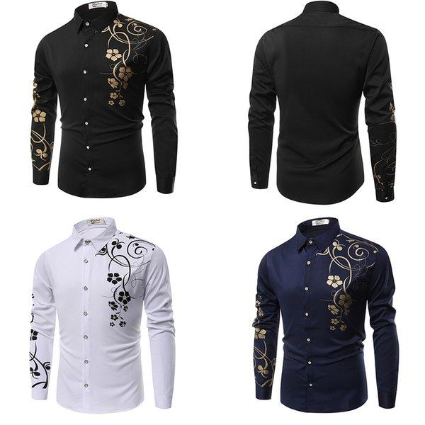 Neue Mode Für Männer Mode Wilde Slim Fit Einfarbig Dünne Männliche Revers Langarmhemd Plus Größe M-