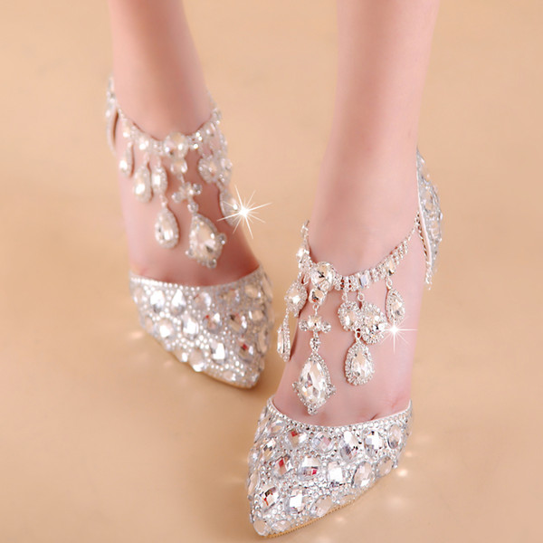 top popular Plus size 33 34 to 40 41 42 Cinderella Rhinestone Wedding Shoes Luxury Women Designer Shoes 7cm Sexy High Heels Come With Box 2021
