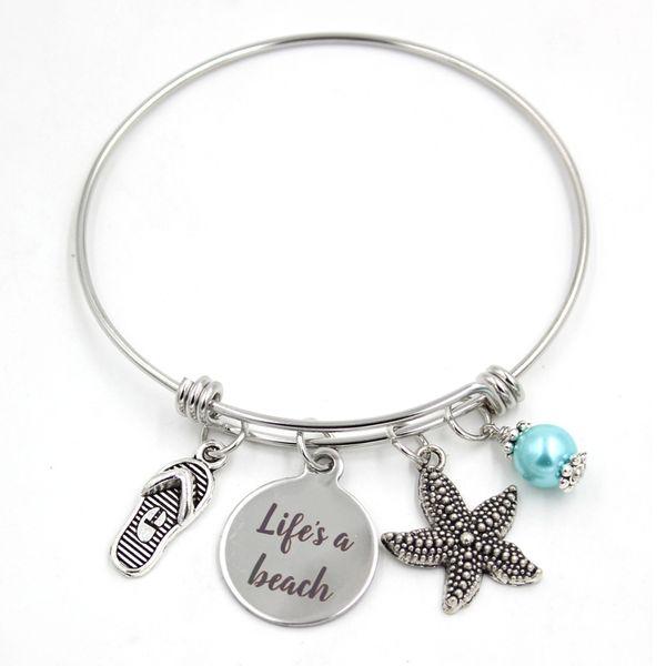 New Arrival Stainless Steel Jewelry Expandable Bangle Bracelet Life's a beach Bracelet Flip Flop Starfish Charm Bracelets women jewelry gift