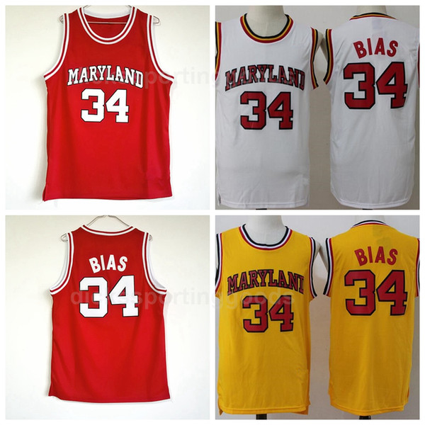 NCAA College 1985 Maryland Terps 34 Len Bias Jersey Men University Red Yellow White Basketball Uniform For Sport Fans High Quality